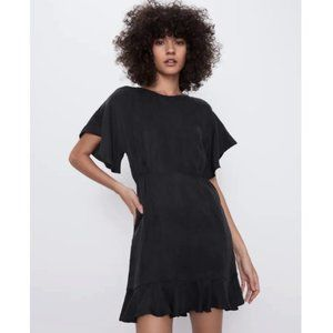 ZARA Black Flowing Short Dress With Ruffles Medium